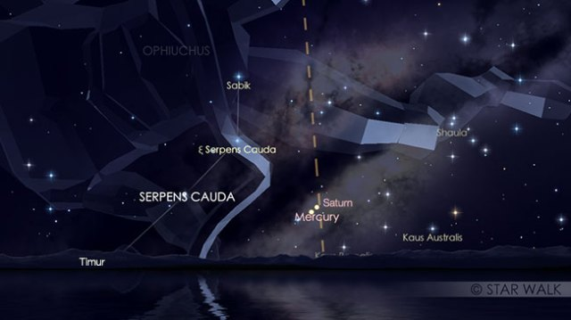 Pasangan Merkurius dan Saturnus tanggal 13 Januari pukul 04:45 WIB. Kredit: Star Walk