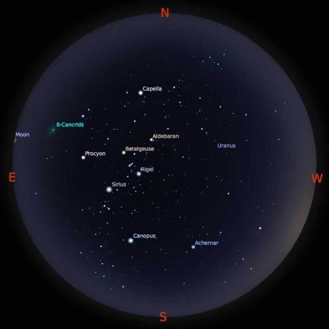 Peta Bintang 1 Februari 2018 pukul 19:00 WIB. Kredit Stellarium