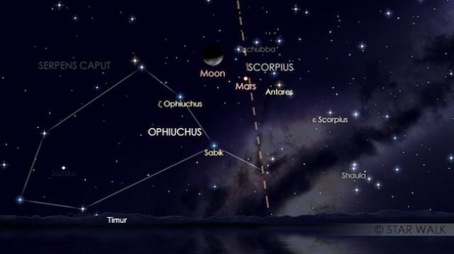 Pasangan Bulan dan Mars tanggal 9 Februari 2018 pukul 02:30 WIB. Kredit: Star Walk