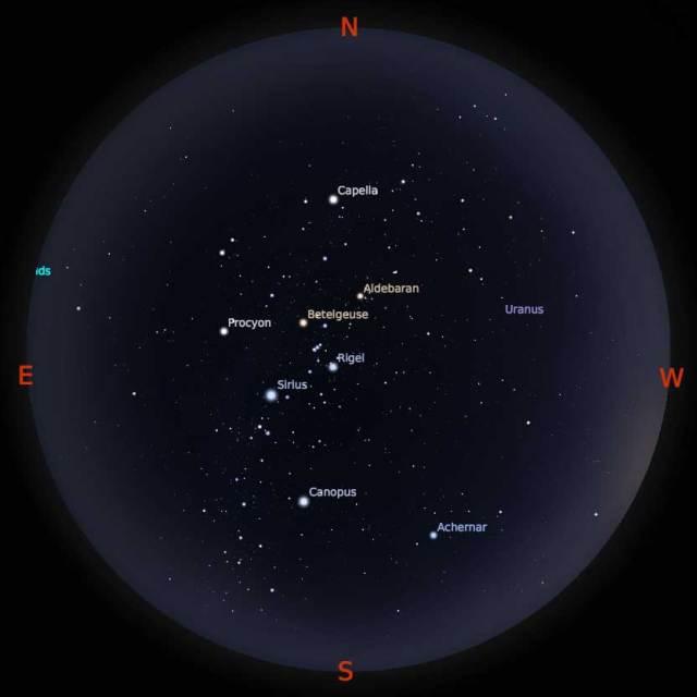 Peta Bintang 15 Februari 2018 pukul 19:00 WIB. Kredit Stellarium