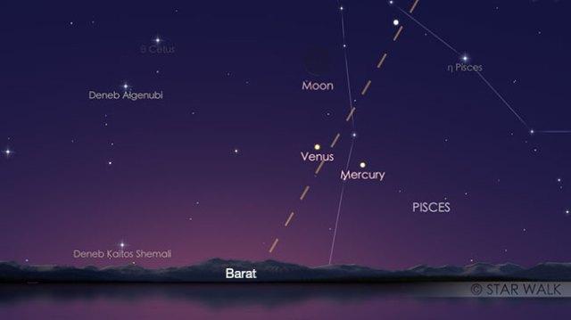 Segitiga Bulan, Merkurius dan Venus tanggal 19 Maret 2018 pukul 18:15 WIB. Kredit: Star Walk