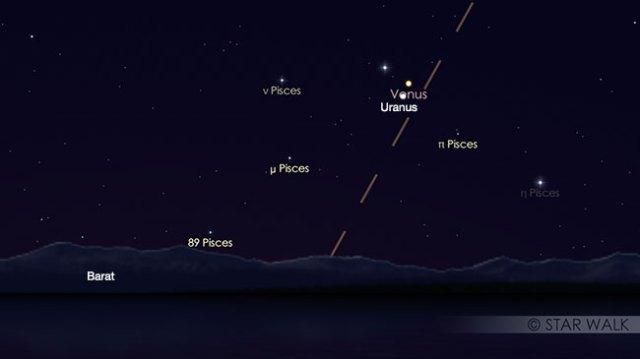 Pasangan Venus dan Uranus tanggal 29 Maret 2018 pukul 18:30 WIB. Kredit: Star Walk
