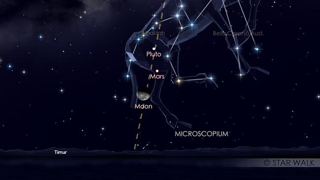 Pasangan Bulan dan Mars tanggal 7 Mei 2018 pukul 00:00 WIB. Keduanya bisa diamati sejak terbit pada tanggal 6 Mei sampai tanggal 7 Mei dini hari. Kredit: Star Walk