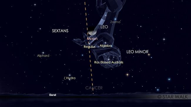 Pasangan Bulan dan Regulus pada tanggal 22 Mei 2018 pukul 22:00 WIB. Kredit: Star Walk