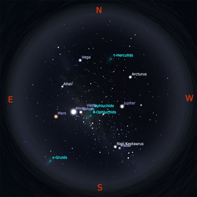 Peta Bintang 1 Juni 2018 pukul 19:00 WIB. Kredit Stellarium