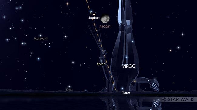 Konjungsi Bulan dan Jupiter tanggal 24 Juni 2018 pukul 00:15 WIB. Pasangan Bulan dan Jupiter sudah bisa diamati sejak Matahari terbenam pada tanggal 23 Juni sampai tanggal 24 Juni pukul 02:35 WIB. Kredit: Star Walk