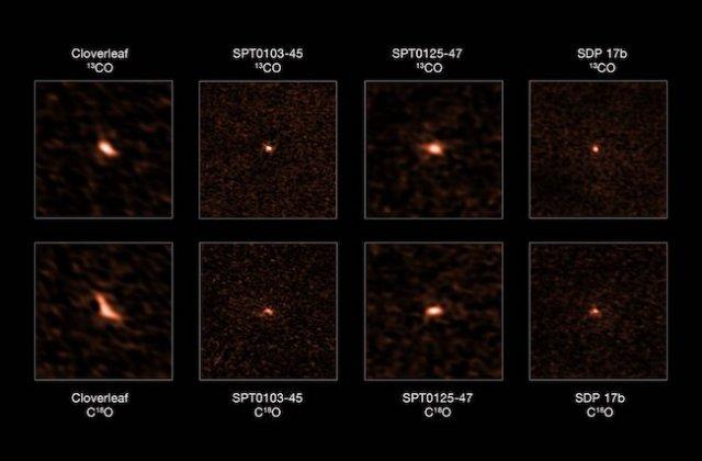 Empat Galaksi Starburst jauh yang diamati ALMA. Kredit: ALMA (ESO/NAOJ/NRAO), Zhang et al.