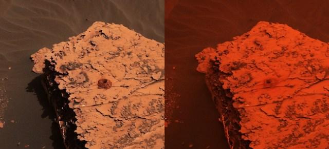 Potret permukaan Mars yang diambil oleh Curiosity memperlihatkan area pengeboran Duluth pada tanggal 21 Mei, sebelum badai debu berlangsung (kiri) dan setelah badai debu menutupi area tersebut tanggal 17 Juni (kanan). Kredit: NASA/JPL-Caltech/MSSS