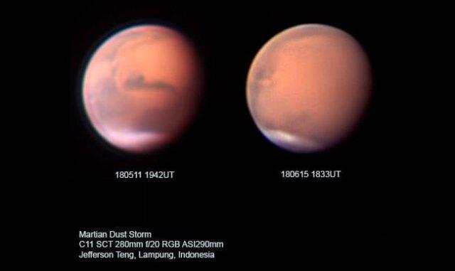 Kenampakan planet Mars di bulan Mei dan Juni tahun 2018. Tampak badai debu di Mars mulai menutupi permukaan planet tersebut, meski ada perbedaan rotasi karena waktu pengambilan yang berbeda. Kredit: Jefferson Teng