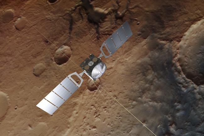 Mars Express sedang memantau area kutub selatan Mars dengan radar. Kredit: ESA