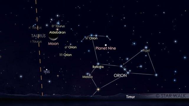 Pasangan Bulan dan Aldebaran pada tanggal 7 Agustus pukul 03:00 WIB. Kredit: Star Walk