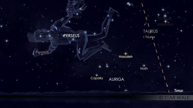 Hujan meteor Perseid 12 Agustus pukul 03:00 WIB. Kredit: Star Walk