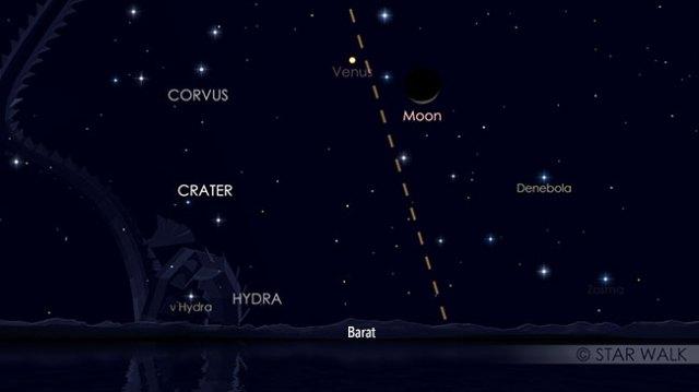 Pasangan Bulan dan Venus setelah Matahari terbenam pada tanggal 14 Agustus pukul 19:00 WIB. Kredit: Star Walk