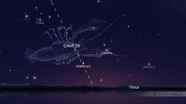 Merkurius saat elongasi barat maksimum tanggal 27 Agustus 2018. Planet ini bisa diamati sebelum Matahari terbit. Kredit: Star Walk