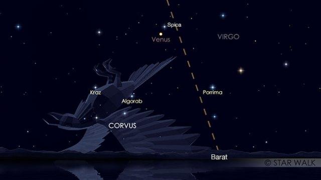 Pasangan Venus dan Spica setelah Matahari terbenam pada tanggal 31 Agustus pukul 19:00 WIB. Kredit: Star Walk