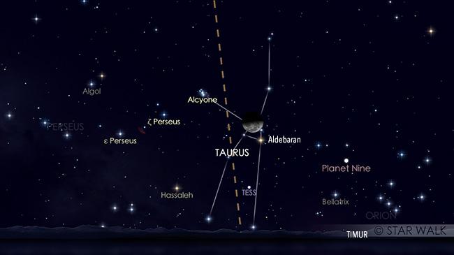 Pasangan Bulan dan Aldebaran pada tanggal 3 Septmber pukul 01:00 WIB. Kredit: Star Walk