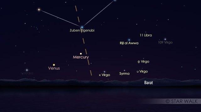 Pasangan Merkurius dan Venus di langit senja pada pukul 18:15 WIB setelah Matahari terbenam. Kredit: Star Walk