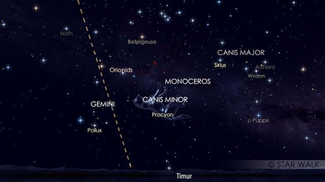 Fenomena langit Oktober yang ditunggu-tunggu. Puncak hujan meteor Orionid pada tanggal 21 Oktober pukul 01:00 WIB. Kredit: Star Walk