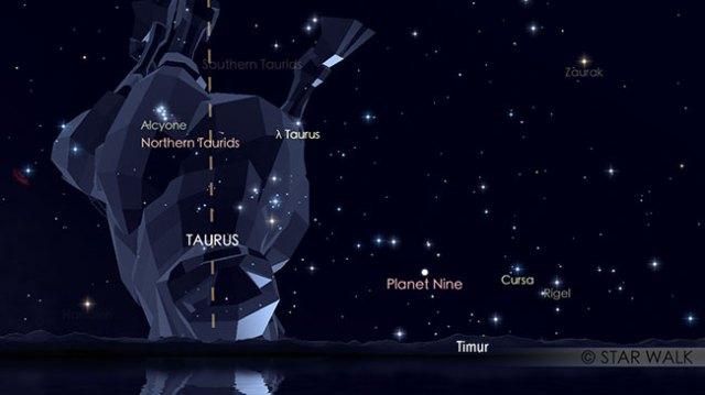 Puncak hujan meteor Taurid Utara, 12 November pukul 20:00 WIB. Kredit: Star Walk