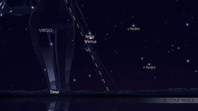 Pasangan Venus dan Spica, bintang terang di Virgo sebelum fajar menyingsing pada tanggal 15 November pukul 04:45 WIB. Kredit: Star Walk