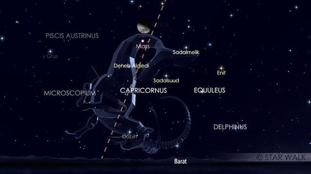 Papasan Bulan dan Mars tanggal 16 November 2018 pukul 22:00 WIB. Keduanya bisa diamati sejak Matahari terbenam sampai tengah malam. Kredit: Star Walk