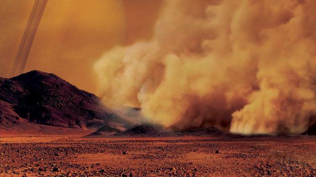 Ilustrasi badai debu di Titan. Kredit: IPGP/Labex UnivEarthS/University Paris Diderot – C. Epitalon & S. Rodriguez