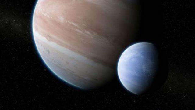 Ilustrasi exobulan yang mengitari planet sebesar Jupiter. Kredit: Dan Durda