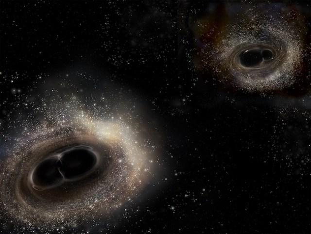 Ilustrasi tabrakan pasangan lubang hitam dengan massa berbeda. Pasangan GW150914 massanya lebih besar (kiri) dan pasangan GW151226 yang massanya jauh lebih kecil. Kredit: LIGO/A. Simonnet.