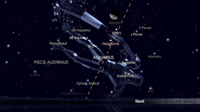 Pasangan Bulan dan Mars 15 Desember 2018 pukul 21:00 WIB. Kredit: Star Walk