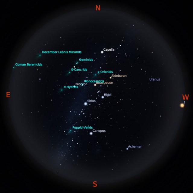 Peta Bintang 15 Desember 2018 pukul 23:59 WIB. Kredit: Stellarium