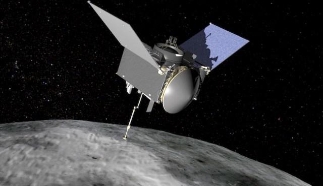 Ilustrasi OSIRIS-REx di asteroid Bennu. Kredit: NASA