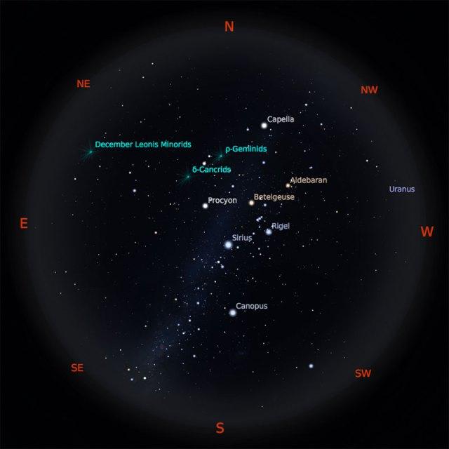 Peta Bintang 1 Januari 2019 pukul 23:59 WIB. Kredit: Stellarium