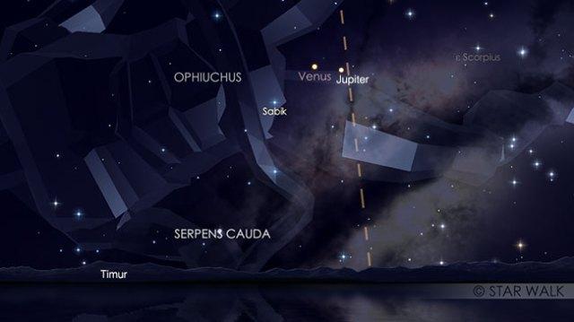 Pasangan Venus dan Jupiter 22 Januari 2019 pukul 04:00 WIB. Kredit: Star Walk
