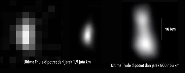 Citra Ultima Thule yang dipotret New Horizons dari jarak yang berbeda-beda. Kanan & Tengah: Dipotret dari jarak 1,9 juta km; Kiri: Dari jarak 800.000 km. Kredit: NASA/Johns Hopkins University Applied Physics Laboratory/Southwest Research Institute