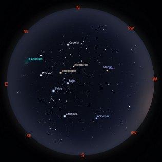 Peta Bintang 1 Februari 2019 pukul 19:00 WIB. Kredit: Stellarium