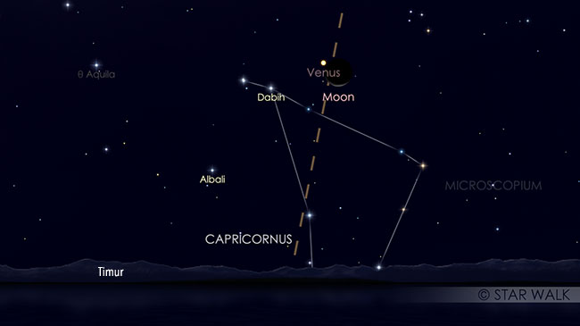 Pasangan Bulan dan Venus 3 Maret 2019 pukul 04:30 WIB. Kredit: Star Walk