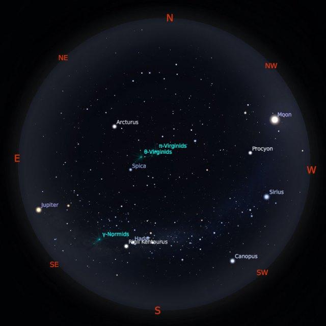 Peta Bintang 15 Maret 2019 pukul 23:59 WIB. Kredit: Stellarium
