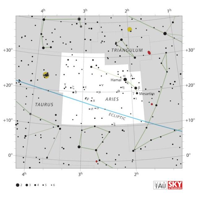 Peta langit Aries. Kredit: IAU dan Sky & Telescope