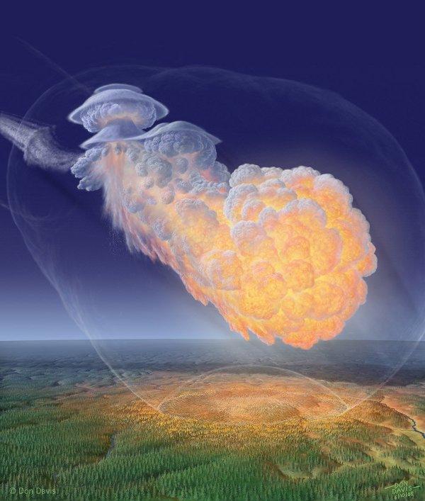Gambar 1. Ilustrasi sebuah peristiwa airburst yang memvisualisasikan dengan jelas lintasan benda langit (kiri atas citra) hingga bola api airburst (tengah dan kanan citra) serta hempasan gelombang kejut dan sinar panas airburst ke paras Bumi yang berupa daratan berhutan belantara (bagian bawah citra). Peristiwa Bering 2018 pada dasarnya seperti ini, hanya saja terjadi di atas lautan pada ketinggian yang cukup besar. Sumber: atas perkenan Don Davis, tanpa tahun.
