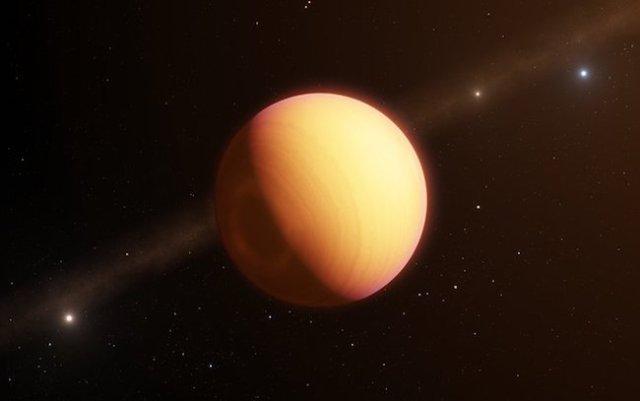 Ilustrasi exoplanet HR 8799 e yang berhasil diamati atmosfernya. Kredit: ESO/L. Calçada