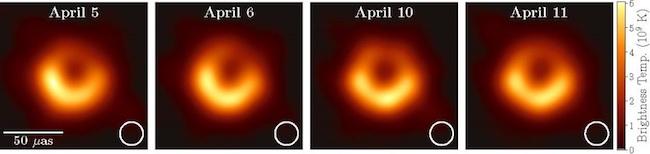 Citra lubang hitam di pusat M87 yang diambil dalam 4 hari pengamatan yang berbeda. Kredit: Kolaborasi EHT