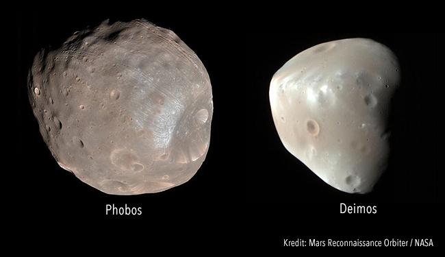 Phobos dan Deimos yang dipotret oleh Mars Reconnaissance Orbiter. Kredit: NASA