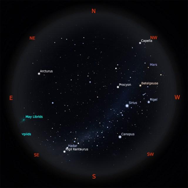 Peta Bintang 1 Mei 2019 pukul 19:00 WIB. Kredit: Stellarium