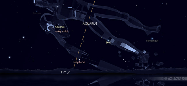 Hujan meteor eta Aquariid pada tanggal 6 Mei 2019 pukul 02:30 WIB. Kredit: Star Walk