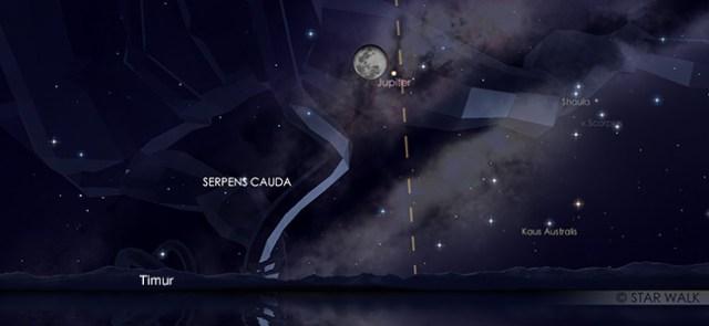 Konjungsi Bulan dan Jupiter pada tanggal 20 Mei pukul 20:30 WIB. Kredit: Star Walk