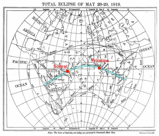 Jalur Gerhana Matahari Toral 1919. Kredit : The Royal Observatory Greenwich