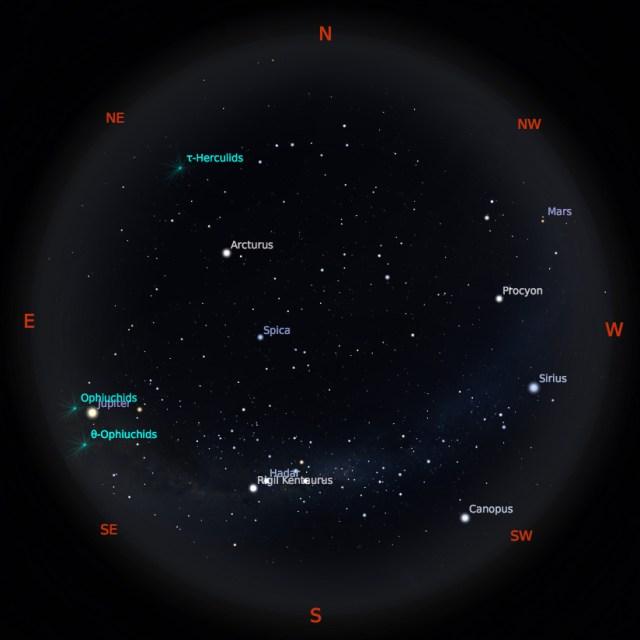 Peta Bintang 1 Juni 2019 pukul 19:00 WIB. Kredit: Stellarium