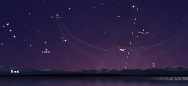 Pasangan Bulan dan Merkurius pada tanggal 4 Juni pukul 18:00 WIB. Kredit: Star Walk