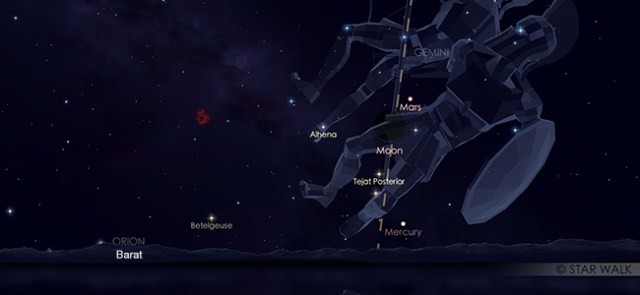 Konjungsi Bulan dan Mars pada tanggal 5 Juni pukul 18:30 WIB. Kredit: Star Walk