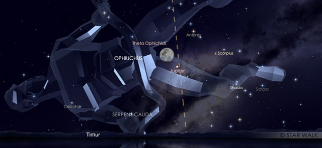 Konjungsi Bulan dan Jupiter pada tanggal 16 Juni pukul 18:30 WIB. Kredit: Star Walk